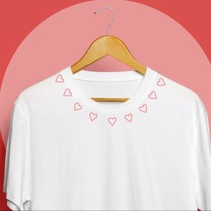 Salty Cold Brew Tops - 'Heart Collar' Handmade Embroidered Tee
